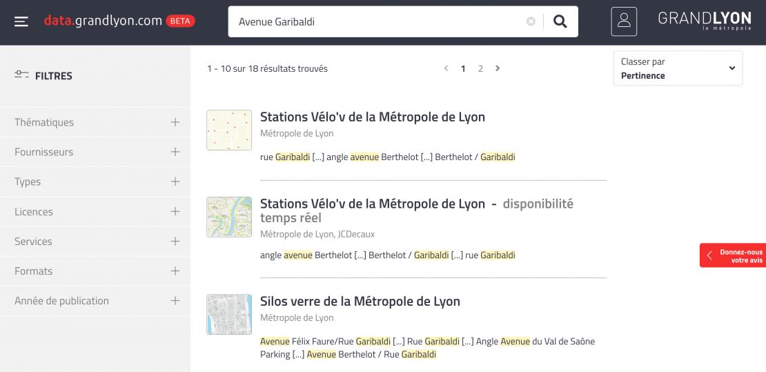 Résultat de recherche Data Grand Lyon